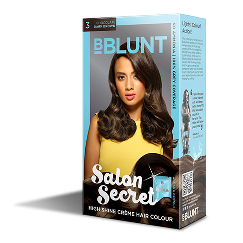 BBLUNT Mini Salon Secret High Shine Creme Hair Colour - Chocolate Dark Brown 3 (Off Rs.4)