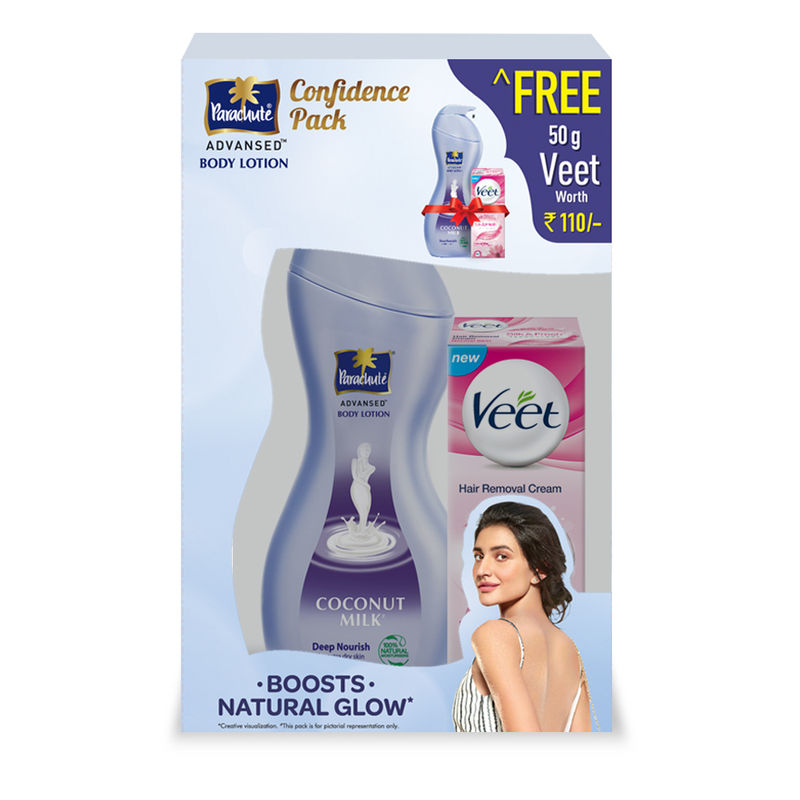 Parachute Advansed Coconut Milk Deep Nourish Body Lotion + Free Veet Silk & Fresh 50gm Worth Rs.110/-