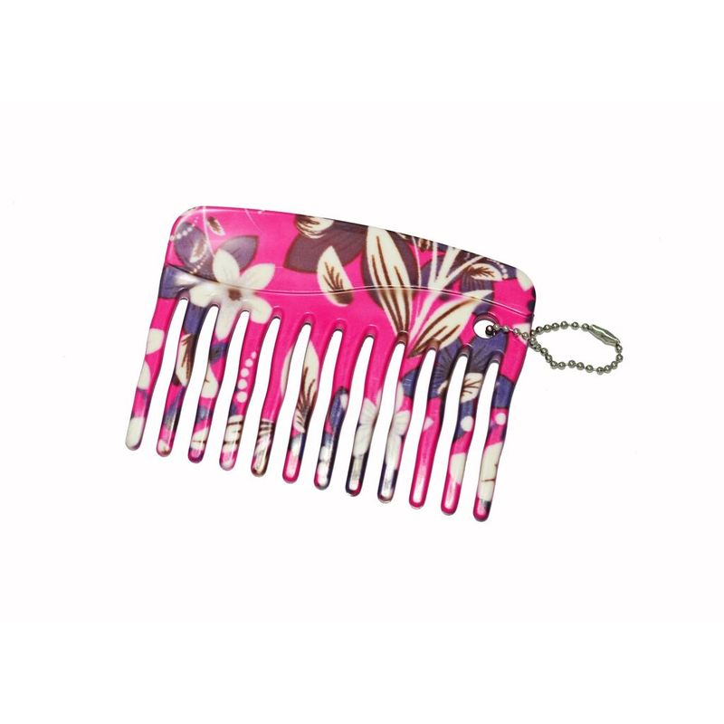 FeatherFeel Printed Pink Floral Mini Purse Comb
