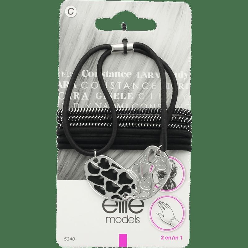 Elite Models (France) Fashion Ponytail Hair Rubber Bands (7 Pc Set) - Silver