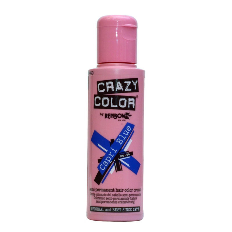 Crazy Color Semi Permanent Hair Color Cream - Capri Blue No. 44