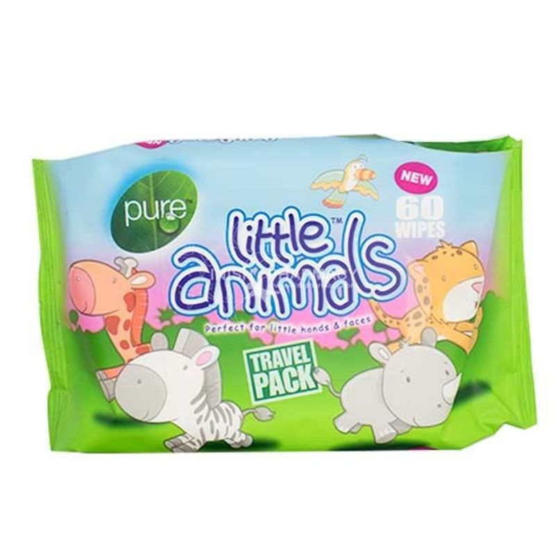 Pure Little Animals Baby Travel Wipes - 60 Pcs