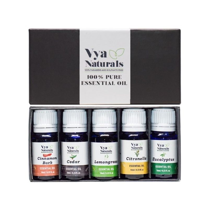 Vya Naturals 100% Pure Essential Oil(Cinnamon Bark+Cedar+Lemongrass+Citronella+Eucalyptus)
