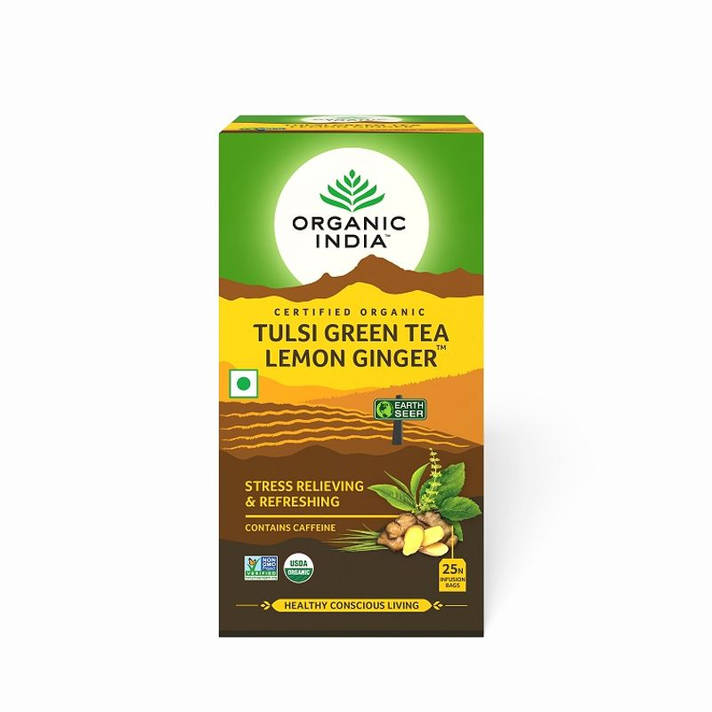 Organic India Tulsi Lemon Ginger Green Tea (Stress Reliveing & Exhilarating)(25 Tea Bags)
