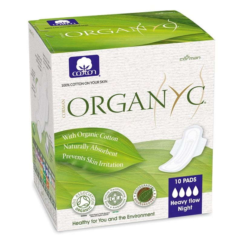 Organyc 100% Organic Cotton Ultrathin Sanitary Pads - Heavy Flow (10 Pads)