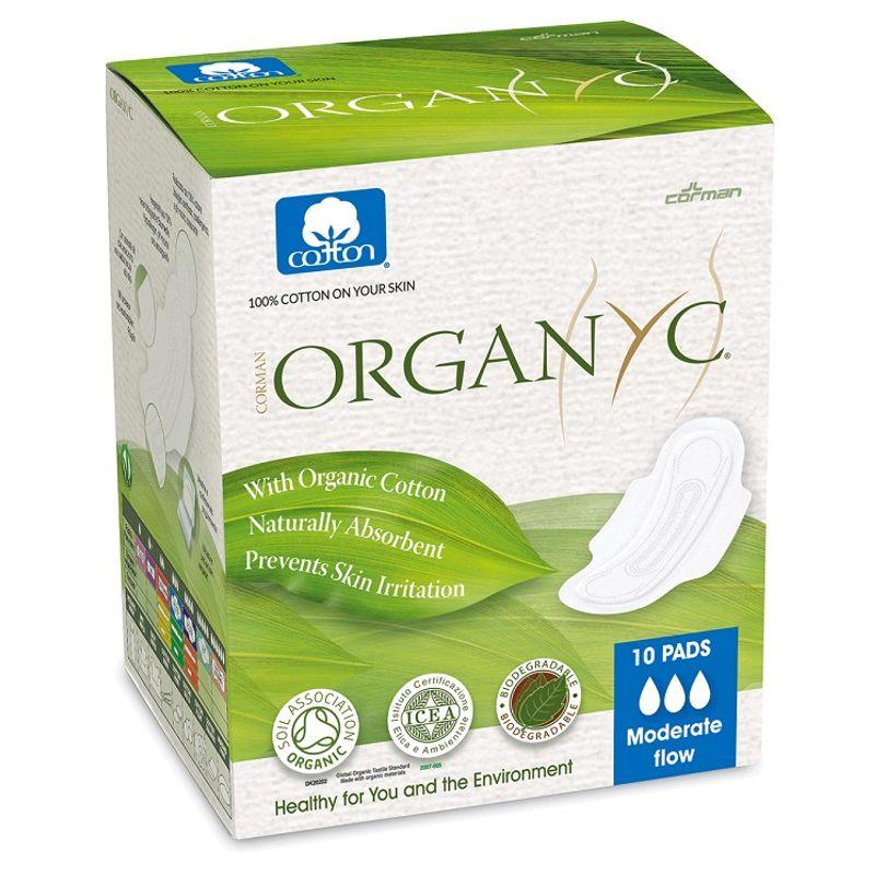 Organyc 100% Organic Cotton Ultrathin Sanitary Pads - Moderate Flow (10 Pads)