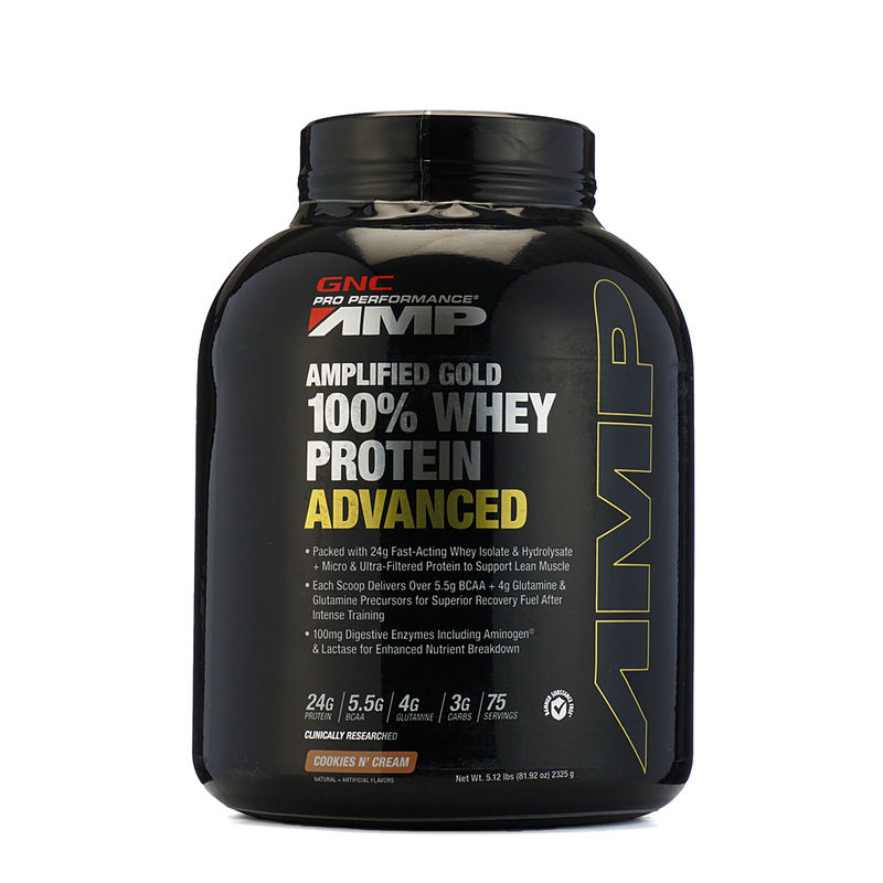 GNC Amp Gold 100% Whey Protein Advanced Cookies N Creame Powder (5.12lb)