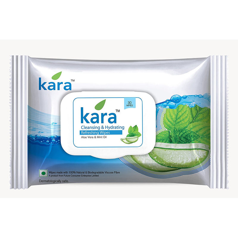 Kara Cleansing & Hydrating Refreshing Face Wipes With Mint Oil And Aloe Vera (30 Wipes)