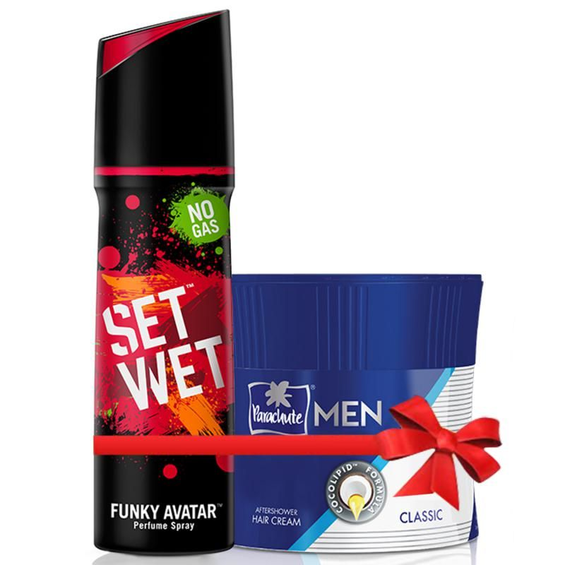 Set Wet Funky Avatar Perfume Spray 120 Ml And Parachute Advansed Men Hair Cream Classic 100 Gm