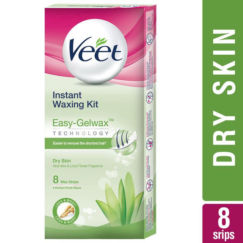 Veet Full Body Waxing Kit Easy-Gelwax Technology Dry Skin - 8 Strips