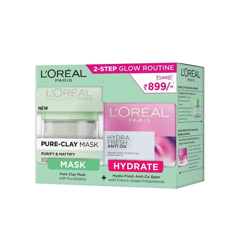 L'Oreal Paris Pure Clay Mask (Eucalyptus) + Hydrafresh Anti-Ox Cream