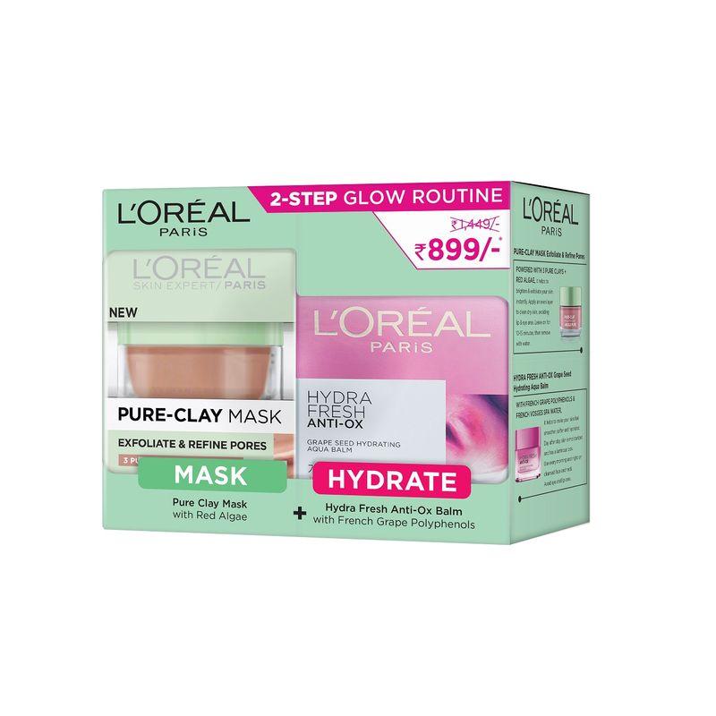 L'Oreal Paris Pure Clay Mask (Red Algae) + Hydrafresh Anti-Ox Cream