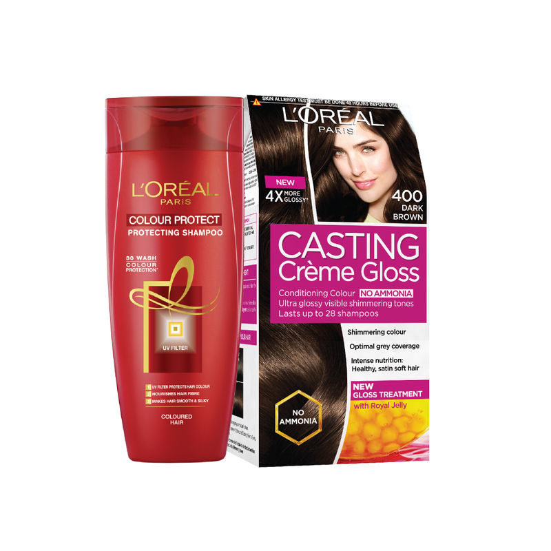 L'Oreal Paris Casting Creme Gloss Hair Color - 400 Dark Brown + Hair Expert Colour Protect Shampoo Free