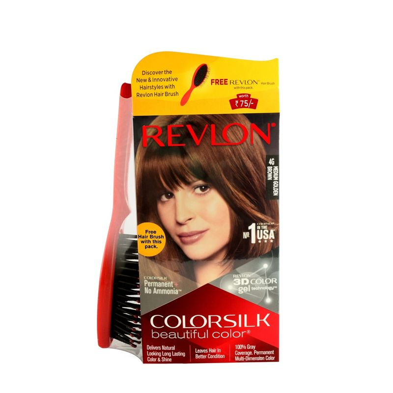 Revlon Colorsilk Hair Color Medium Golden Brown 4G + Free Hair Brush