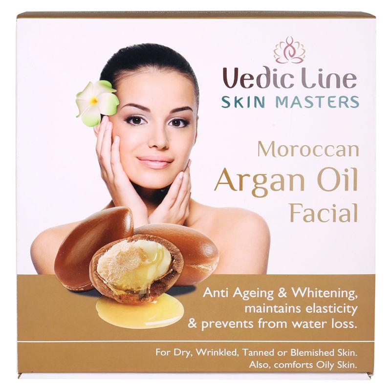 Vedic Line Skin Masters Moroccan Argan Oil Facial Anti Ageing & Whitening + Free Green Apple Toner 200ml Worth Rs.225/-