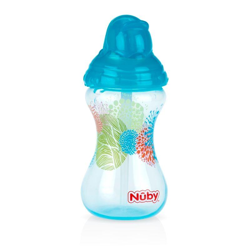 Nuby Designer Series Flip It Sipper With Straw - Aqua