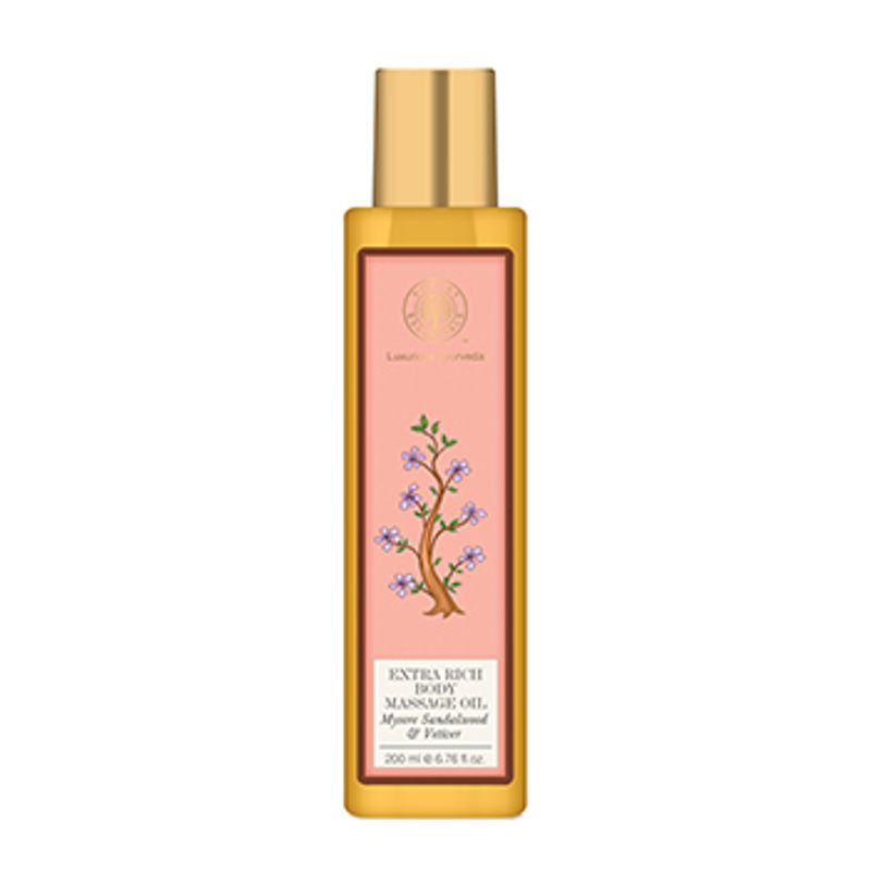 Forest Essentials Extra Rich Almond Body Massage Oil Mysore Sandalwood & Vetiver