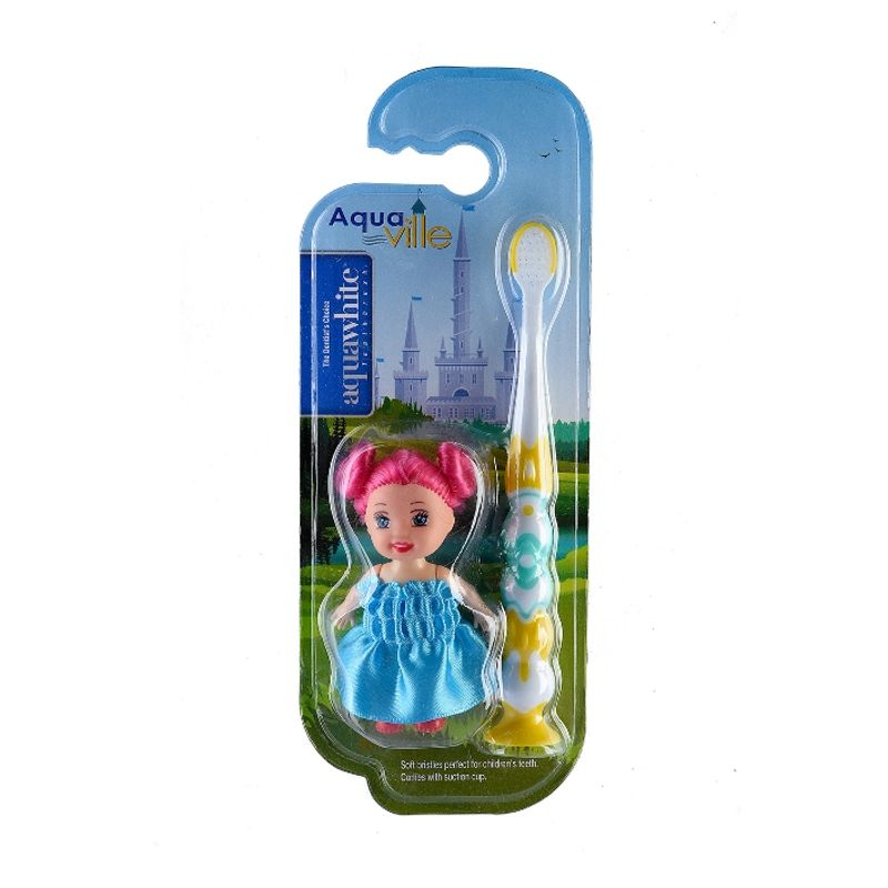 Aquawhite Aquaville Soft Bristles Toothbrush With Doll Toy For Kids - Yellow