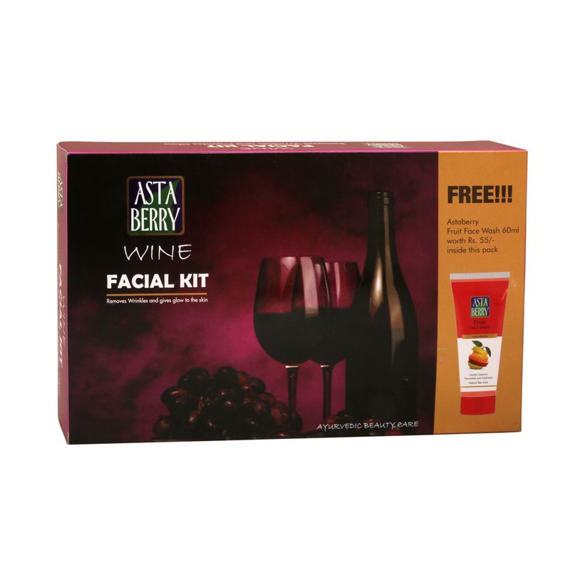 Astaberry Wine Facial Mini Kit + Astaberry Skin Fruit Face Wash Rs.55 (Free)