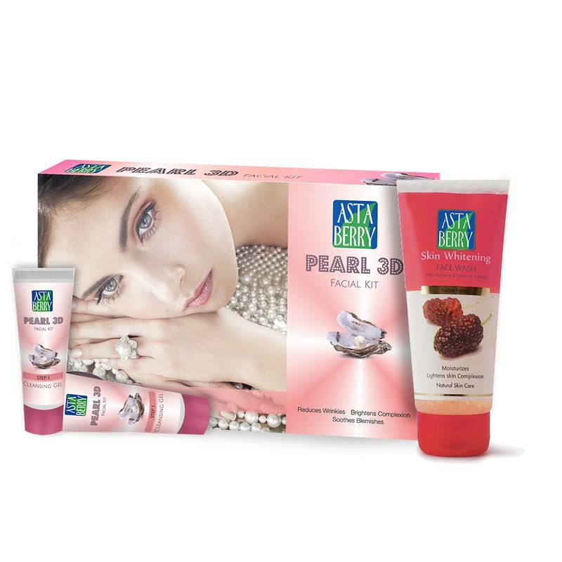 Astaberry Pearl 3D Facial Kit Mini + Free Skin Whitening Face Wash