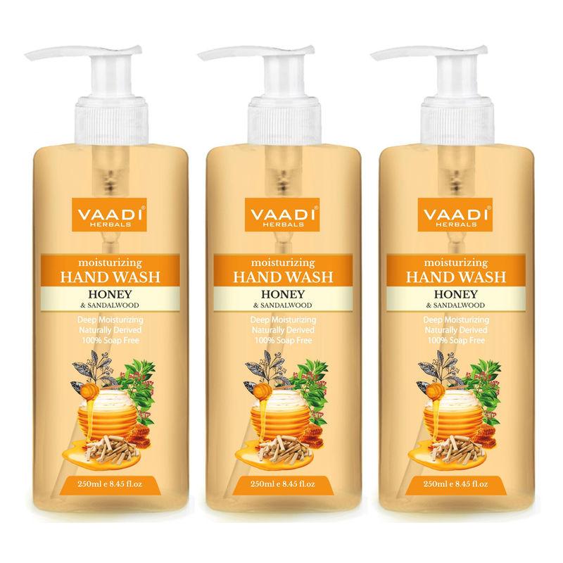 Vaadi Herbals Deep Moisturizing Honey & Sandal Hand Wash - Pack Of 3(250 Ml X 3)