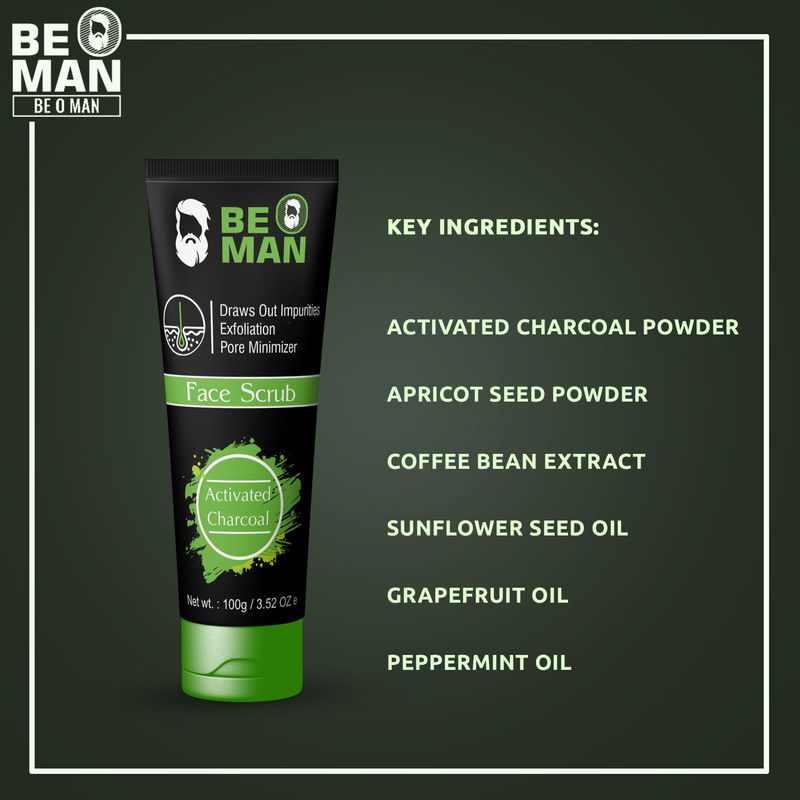 87bce0a43d85 Be O Man Activated Charcoal Face Scrub at Nykaa.com