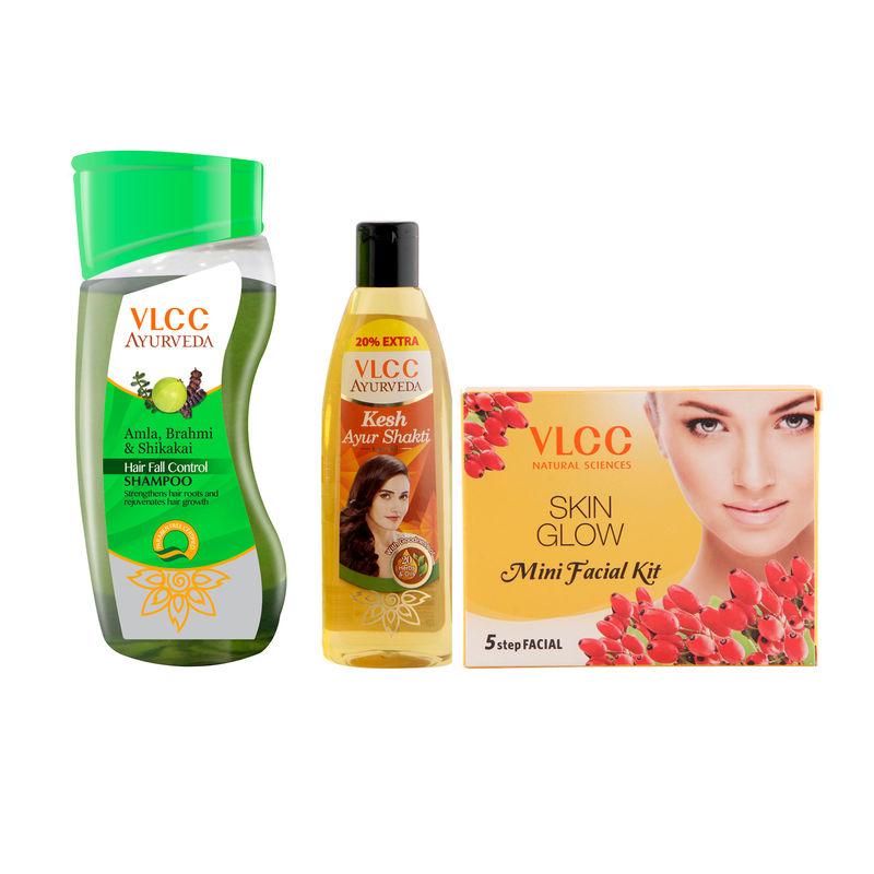VLCC Ayurveda Shampoo Hair Fall & Ayurveda Hair Oil & Facial Kit Combo