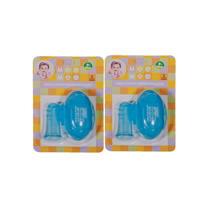 Mee Mee Unique Finger Brush With Cover - Blue (Pack Of 2)