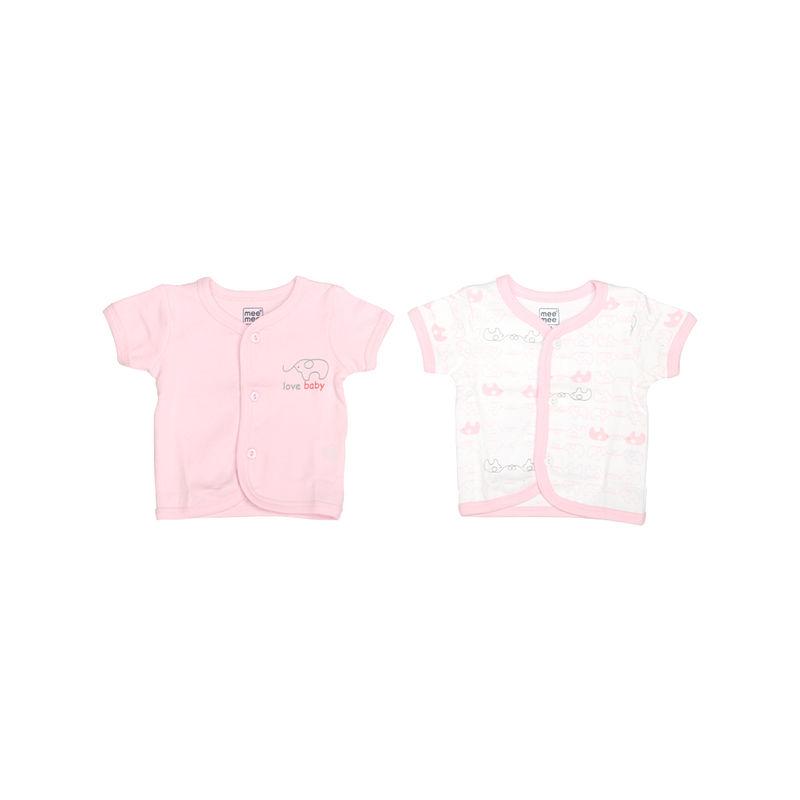 Mee Mee Half Sleeve Jabla - Pink & White Pack Of 2