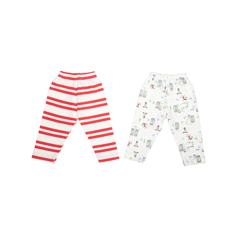 Mee Mee Baby Leggings - White & Red Stripe Pack Of 2