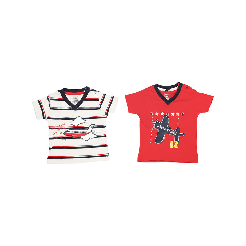 Mee Mee T-Shirts For Boys - White Stripe & Red Pack Of 2