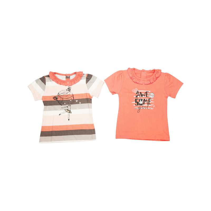 Mee Mee Short Sleeves Tops - Coral Stripe & Coral Pack Of 2