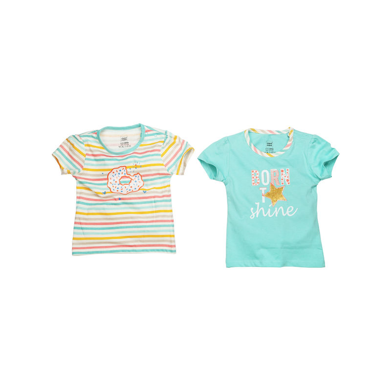 Mee Mee Short Sleeves Tops - Multi Stripe & Mint Pack Of 2