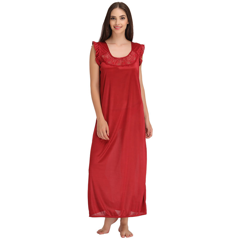 Clovia Satin Nighty   Robe Set - Maroon at Nykaa.com 45c3cf27c