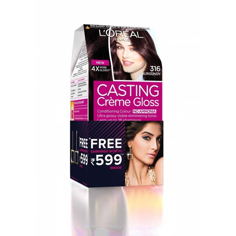 L'Oreal Paris Casting Creme Gloss Hair Color - 316 Burgundy + Free Earrings