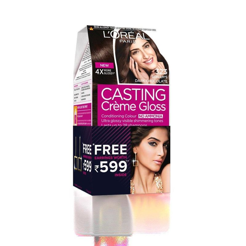 L'Oreal Paris Casting Creme Gloss Hair Color - 323 Sonam's Dark Chocolate + Free Earrings