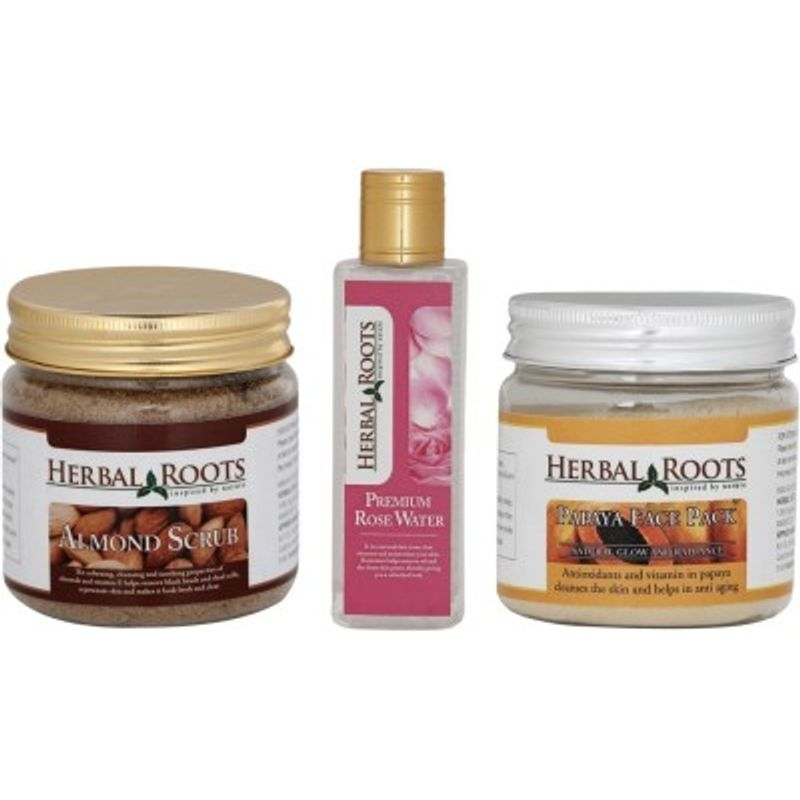 Herbal Roots Skin Whitening Kit For Dry Skin - Almond Scrub, Papaya Face Pack, Premium Rose Water