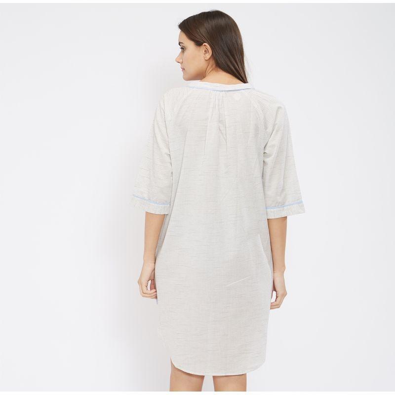 e64b5bc2ab7 Mystere Paris Classic Striped Shirt Dress - White at Nykaa.com