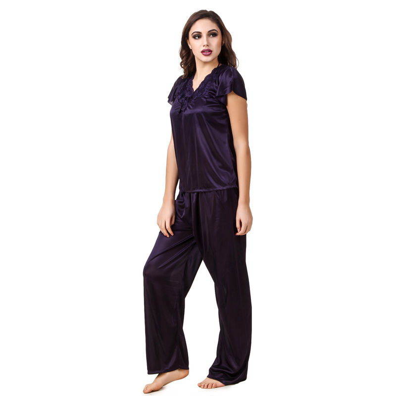 94278d2f32 Fasense Women Satin Navy Blue Nightwear 6 Pc Set of Nighty