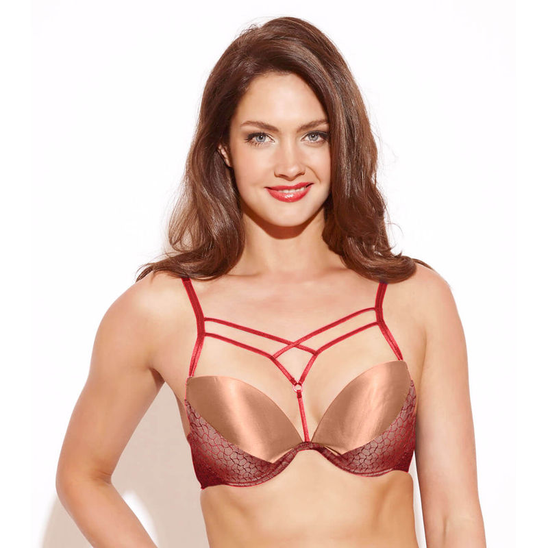 c4ec10c118f0 Enamor F032 Low Coverage Fashion Plunge Bra - Maroon at Nykaa.com