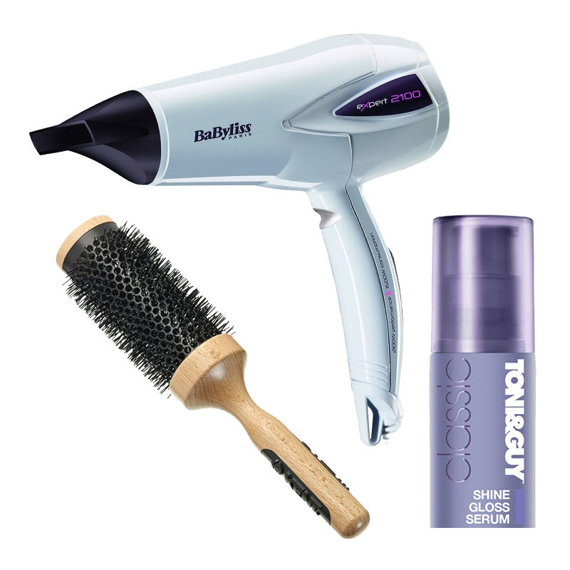 Kent Blow Drying Brush + Babyliss Expert Hair Dryer + Toni&Guy Classic Shine Gloss Serum