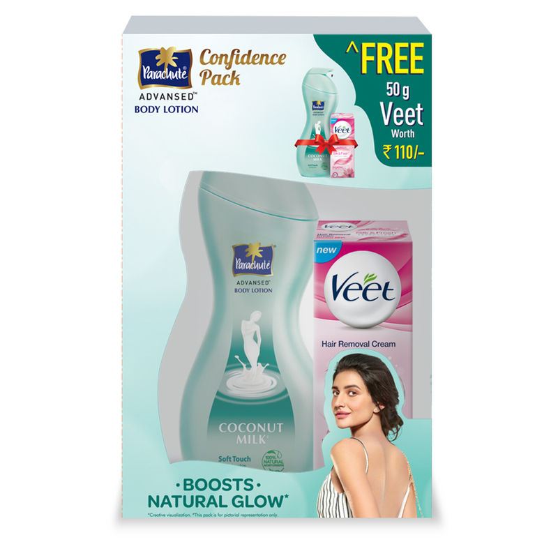 Parachute Advansed Coconut Milk Soft Touch Body Lotion + Free Veet Hair Removing Cream Worth Rs.110