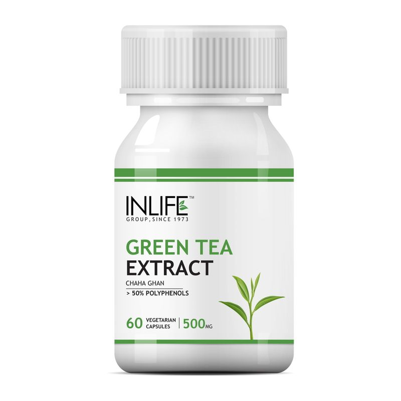 INLIFE Green Tea Extract, 60 Veg Capsules With 70% Polyphenols For Weight Loss