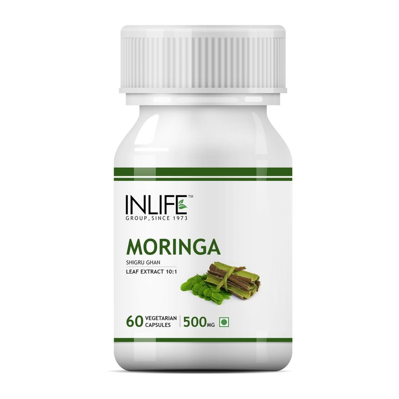 INLIFE Moringa Oliefera Leaf Extract, 60 Veg Capsules For Weight Loss &Digestion