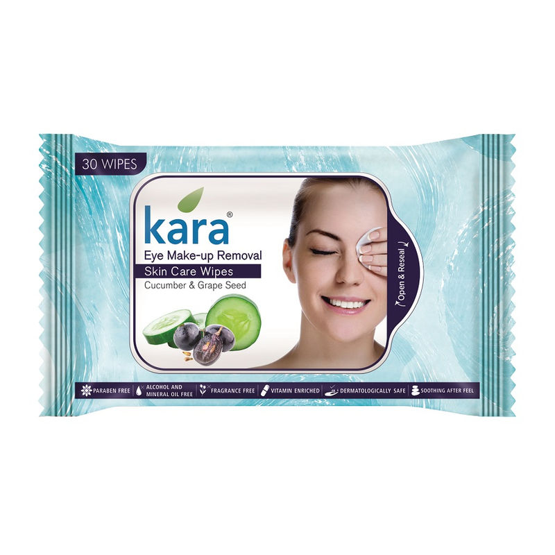 Kara Eye Make-Up Removal Skin Care Wipes Cucumber & Grape Seed