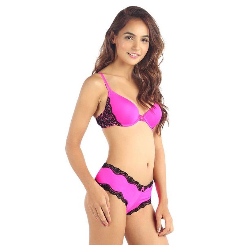13355cc4275f0 Candyskin Nylon Spandex Push Up Plain With Lace Band Bra (Pink-Black) at  Nykaa.com