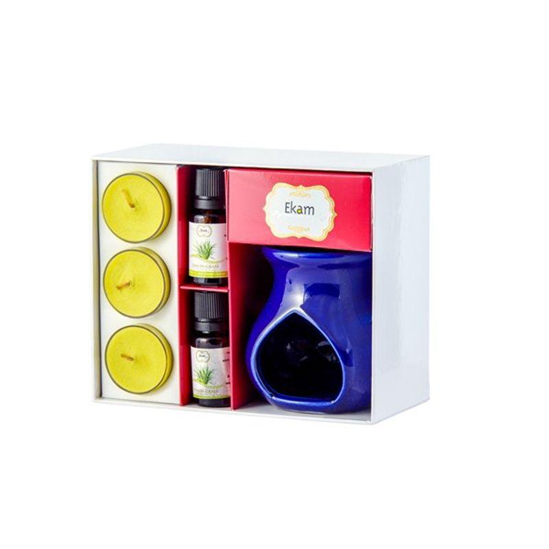 Ekam Lemongrass Ceramic Oil Warmer Set