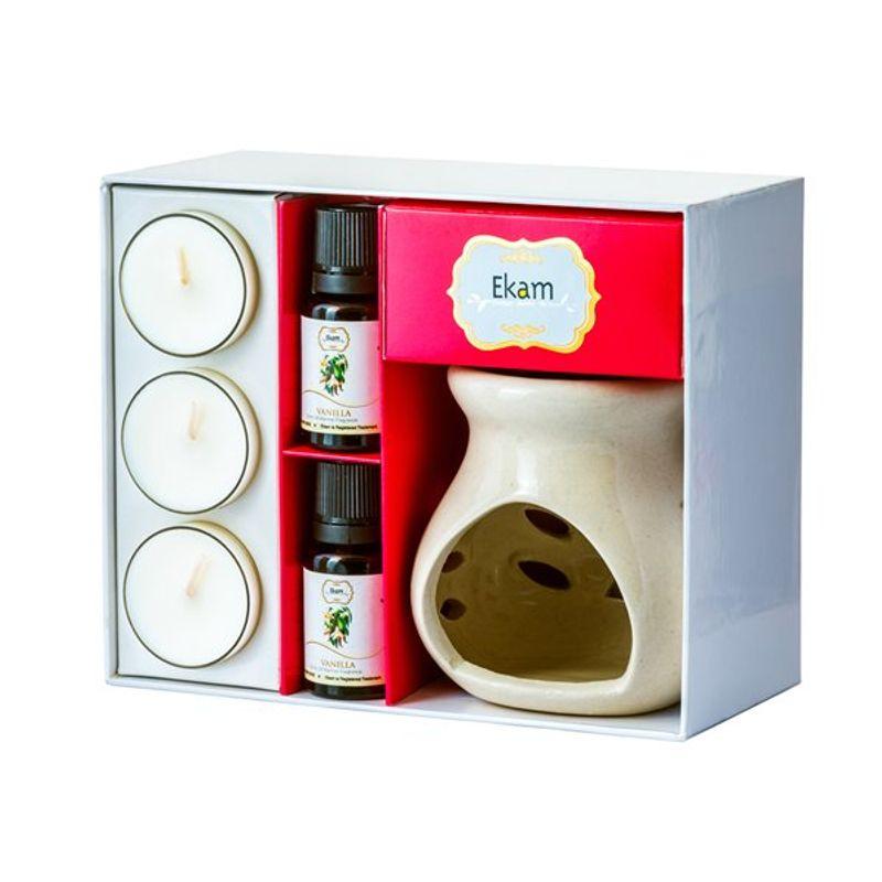 Ekam Vanilla Ceramic Oil Warmer Set