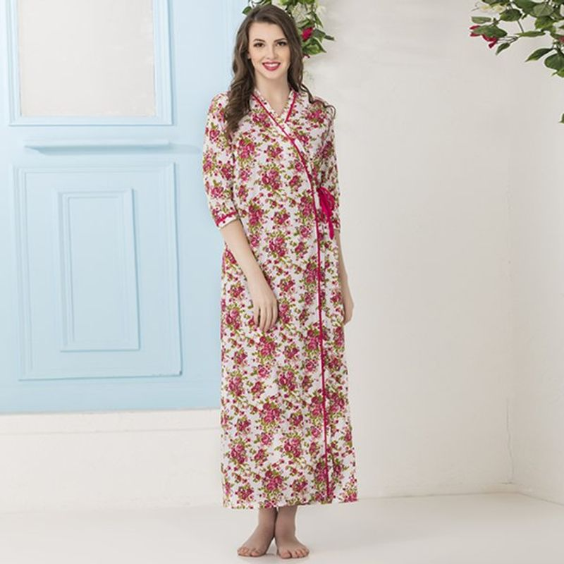 Clovia Cotton Rich Floral Print Nighty   Robe - Multi-Color at Nykaa.com 51d9bd3c4