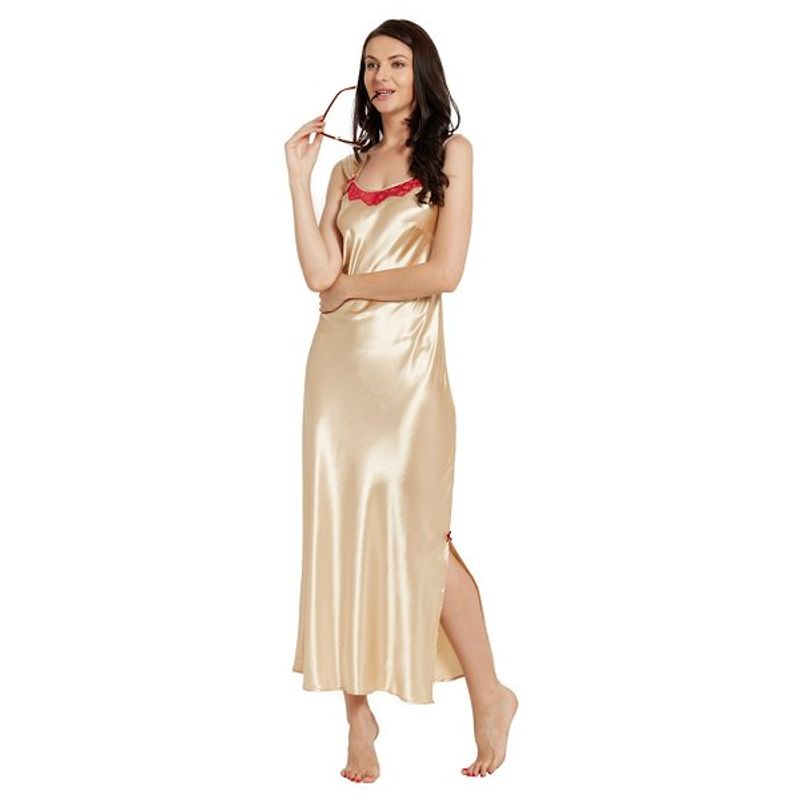 767a909c4b Blush Gold Satin Long Nightdress at Nykaa.com